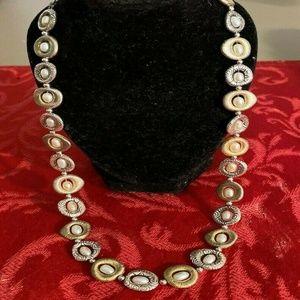 Brighton SATORI  Silver/Gold Links Pearl Necklace
